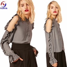 New designs ladies high neckline long trumpet sleeves button-loop front closures open shoulder ruffle top