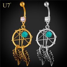 U7 Gold plated Hot Navel bar Fashion Body Piercing Jewelry women dream catcher belly ring