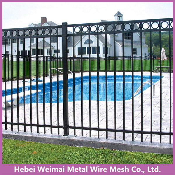 Black steel tubular garden fence