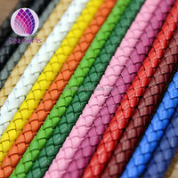 wholesale round 6mm width real braided leather cord for making bracelets