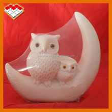 Small mother and children white stone owl sculpture