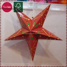 Five Star pointed decorative hanging paper lanterners for christmas decoration