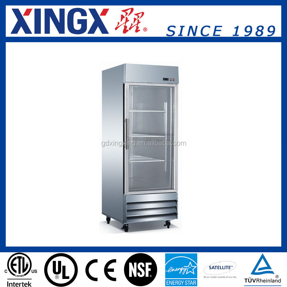 Hotel/restaurant kitchen equipment, stainless steel reach in refrigerator with glass door, one section