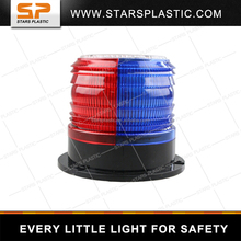 Solar-powered LED warning beacon red and blue strobe flash light