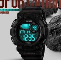 Waterproof case back Rubber men sport wrist watch Alarm Chrono Calendar large stock