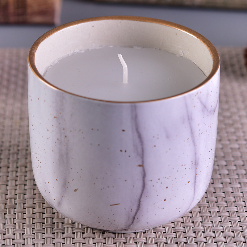 Marble pattern ceramic candle holder for home scented candles