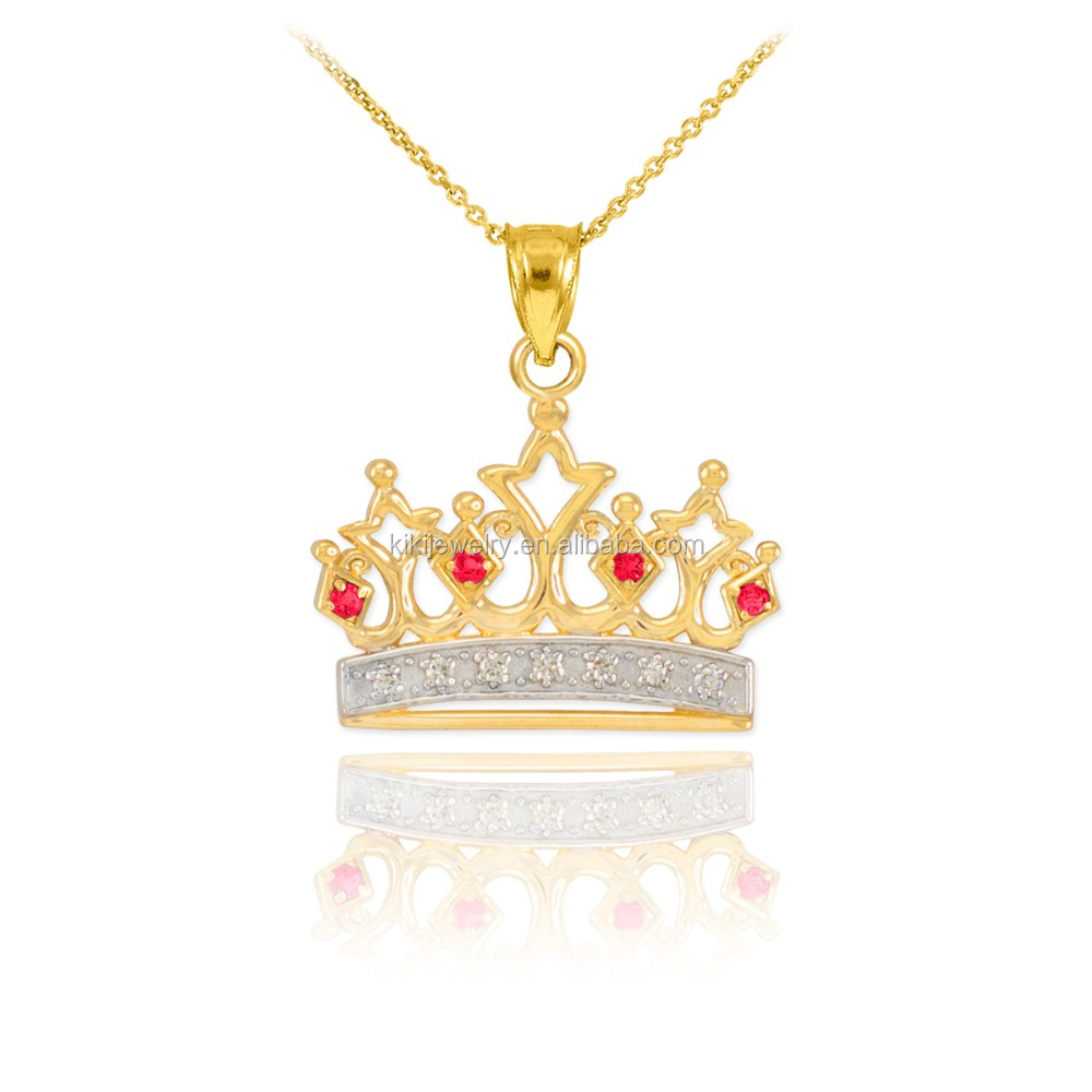 Custom Gold Plated Metal Alloy Diamond Crown Pendant Necklace
