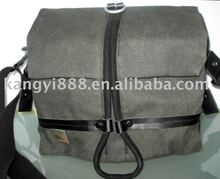 Digital camera bag be made of canvas with real leather