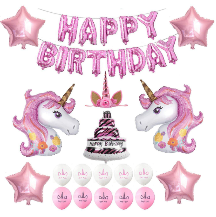 Pink Girl Unicorn Birthday Party Decorations With Pink White Latex Balloons 16 inch Pink Foil Banner Star Cake Foil Balloons