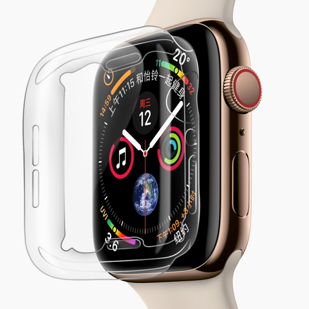 0.9mm slim soft TPU <strong>case</strong> for iWatch series 4 transparent cover, screen protector cover for Apple Watch S4 <strong>case</strong>
