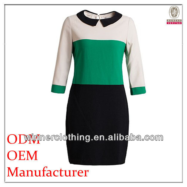OEM hot sell latest fashion loose fit office chiffon 2014 new design ladies' dress with eton collar