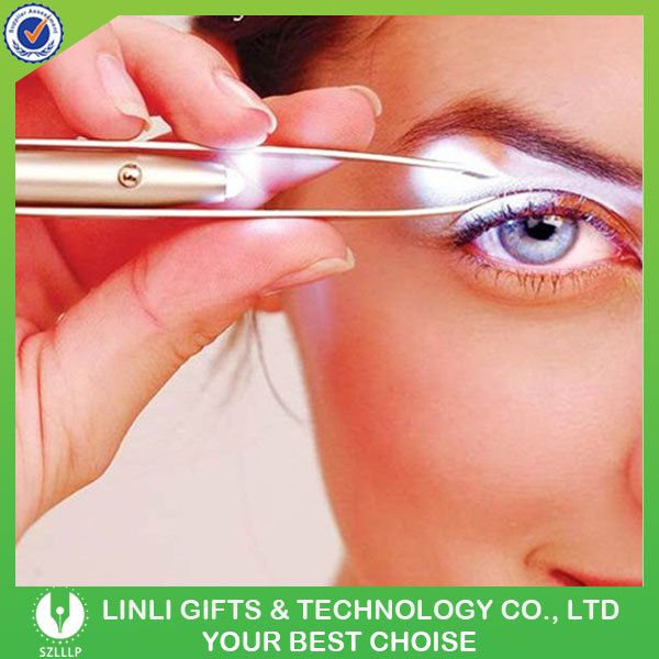 2016 New Cosmetic Mini Led Lighted Eyebrow Tweezer With Logo Printing