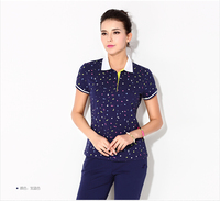 OEM custom China supplier fashion custom printing slim fit women's polo t shirt with short sleeve