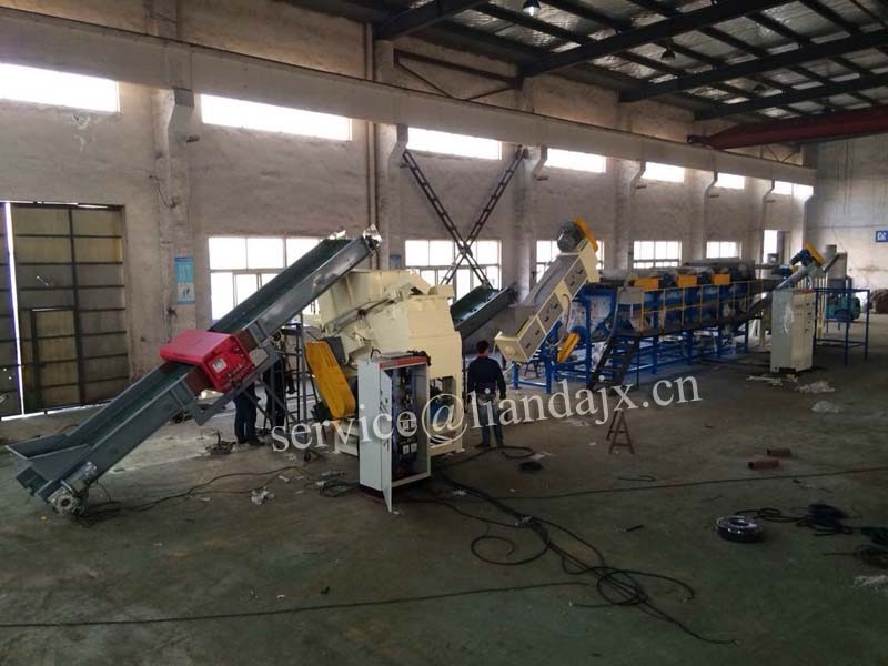 Waste PE PP film crushing washing recycling line