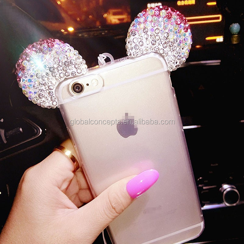 Colorful bling diamond mouse ear TPU Soft case for iphone 6,for iphone 6 plus Cute clear case