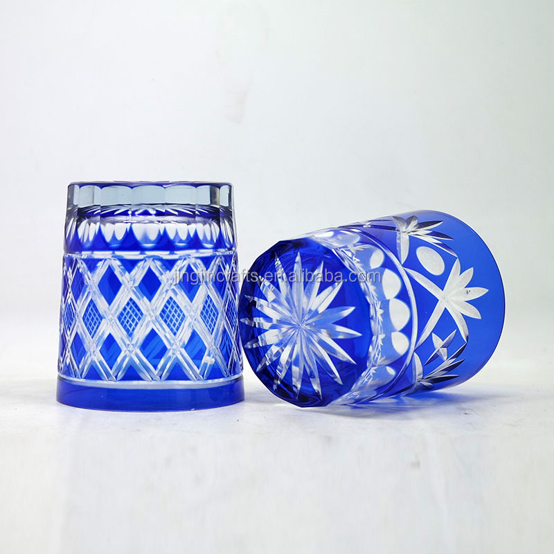 280ml Wholesale Flat Bottom Blue Colored Engraved Glass Tumbler Tea Cup