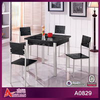 contemporary wooden top metal frame cheap dining table and 6 chairs