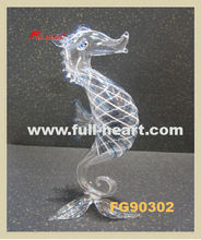 FG90302 clear glass figurine glass animal glass seahorse
