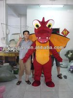 Red Dragon With Black Wings Mascot Costume