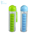 Portable Water Bottle with Built-in Daily Pill Box Organizer Supplement Vitamin Medicine Storage for Gym, School, Travel