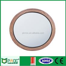 Wood Grain Aluminum Fixed Round Window with Tempered Wired Glazing and Perfect Curving design for European countries