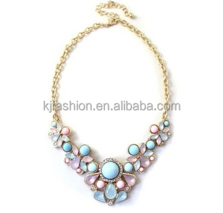 Pure and fresh elegant jelly bling bling water drop shape necklace jewelry
