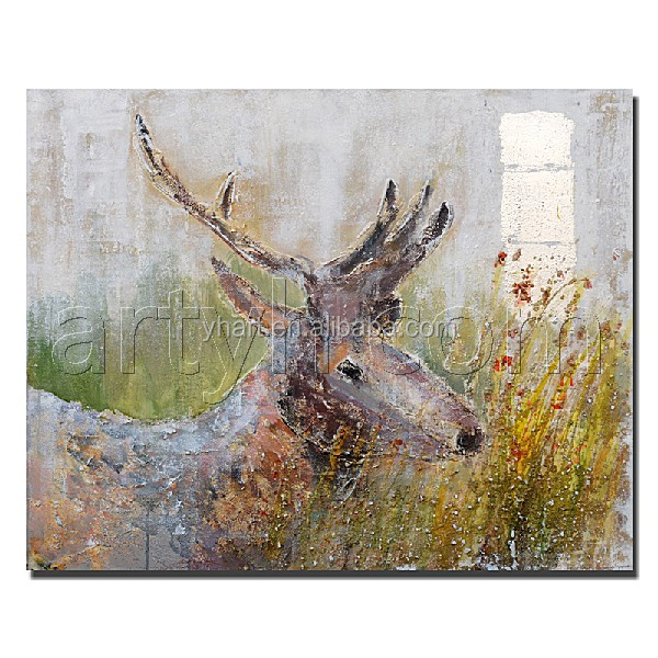 Handmade modern wall mounted deer canvas oil painting importer