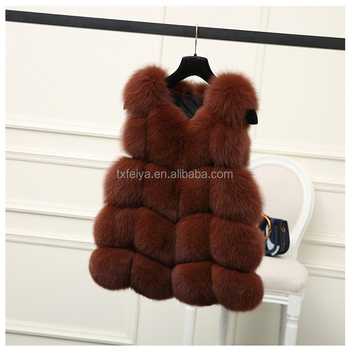 Fur factory wholesale fashion fox/rabbit/mink fur women's middle vest