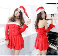 Fancy Role-playing Games Christmas Costumes Suit Clothing Sexy Uniforms Red Cosplay Women Wholesale Dress Gloves Hat + Socks