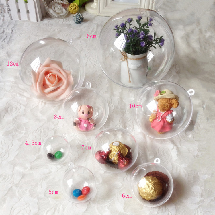 Christmas Ball White Transparent Can Open Plastic Ball Wedding Party Hollow Christmas Plastic Ball