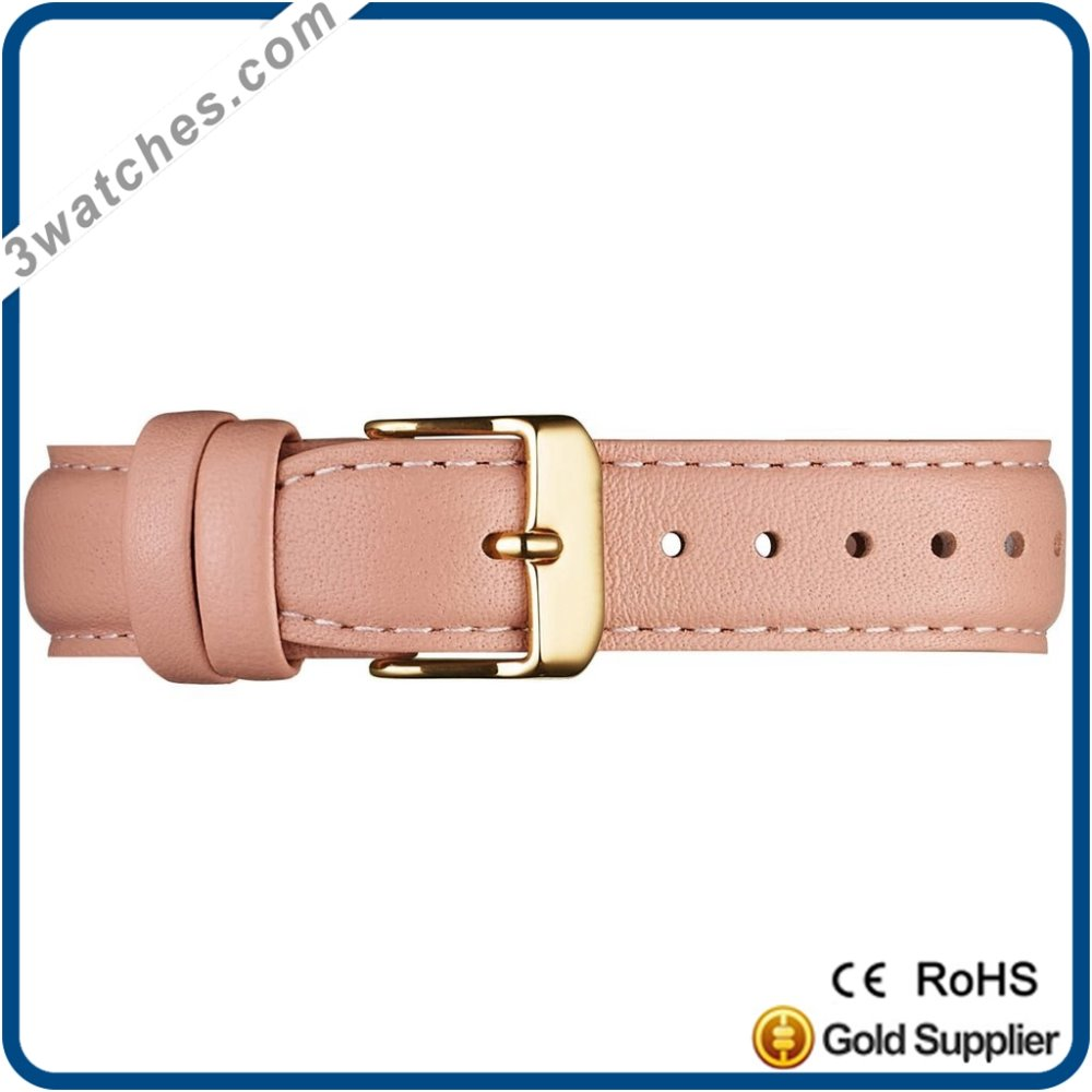 top brand customized pink color leather strap guneine leater Italian leather steel colorful buckle watch style strap