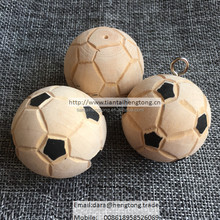 40mm natural wood football, craft ball carving with hook for hanging
