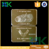 Wholesale US air force F16 fighting falcon gold plated bullion bar