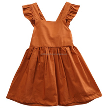 Teen Girls Fashion Pure Dress Leisure USA Stylish Children Wear Brown Flutter Girls Dress