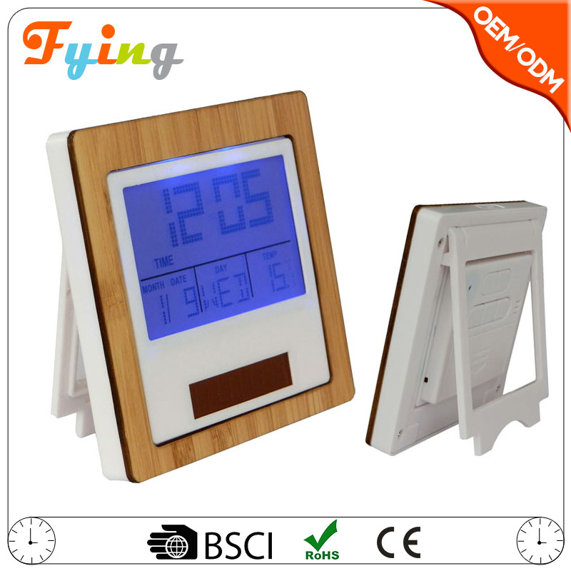 2017 new solar powered digital clock, bamboo calendar clock, solar alarm clock