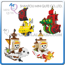 Mini Qute Lele Brother 4 styles Anime One piece Thousand Sunny Going Merry plastic building blocks cartoon model educational toy
