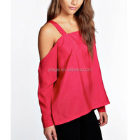 2014 Latest Design Western Style Muslim Long Sleeve Strappy Open Shoulder Blouse For Women L1826