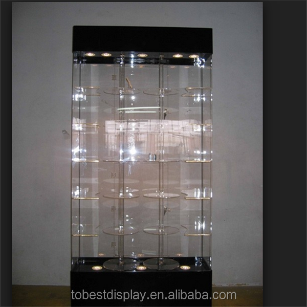 6 tiers LED rotating elegant design watch display showcase/watch display cabinet/acrylic watch display stand