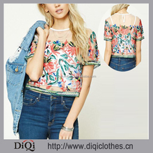 Top Fashion Apparel New Arrival Women's Chic Summer Cropped Mesh Embroidered Tops