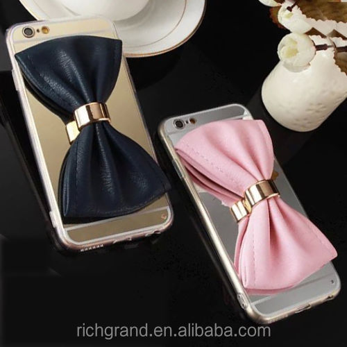 New Woman's Silver/Gold Leather Bowknot Phone Case Cover For iPhone5/5s/6/ 6 S/6Plus