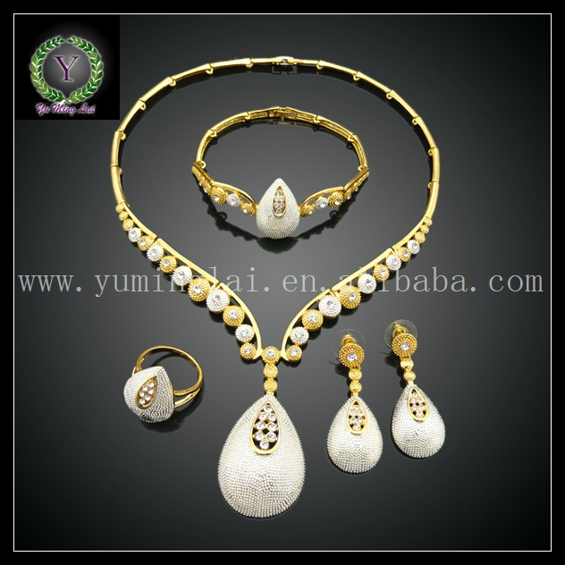 Beaded costume jewelry women gold plated necklace set
