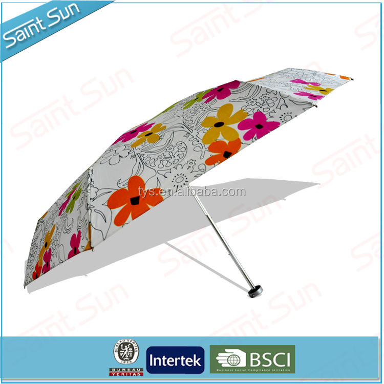 19 Inch Cheap Customized Printing Light Aluminum Five Fold Umbrella