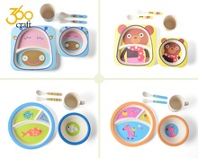 Hot Sales food lever baby kids dinnerware plate bio bamboo fiber dinner sets for kids