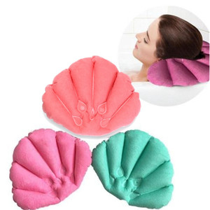 Wholesale Shell Shape Waterproof Bath Spa Neck Pillows Terry Cloth Inflatable Pillow