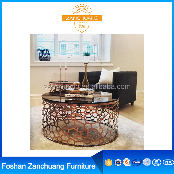 Glass Top Center Table Sofa Snack Table Designs C356