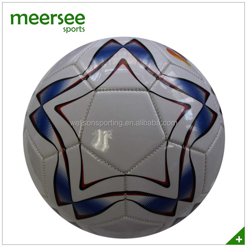 Allover printed brands promotional machine sewn PVC/PU/TPU rainbow soccer ball