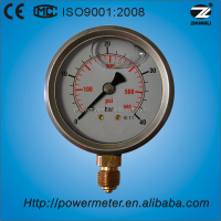 "factory price of 2.5"" glycerine/silicon oil liquid filled pressure gauge/stainless steel case/bottom type/40BAR"