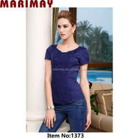 New slim designer ladies short sleeve casual blouse with beauty lace,wholesale clothing mexico
