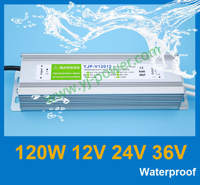 Constant voltage Regulated AC 220v to 36v DC power adapter for 120w led light, CE Rohs IP67 waterproof