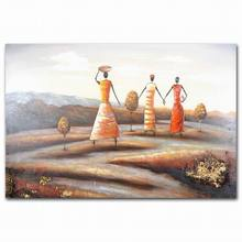 Abstract black people african women field tree lady oil painting for home decor